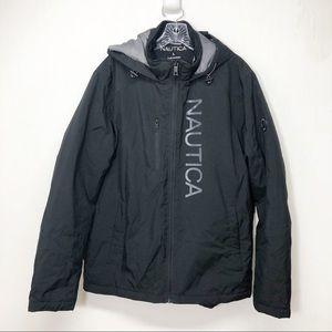Nautica Black Windbreaker Winter Coat Jacket